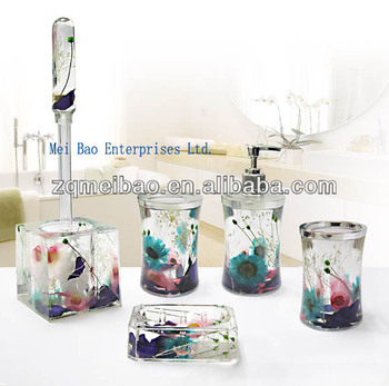 Double Wall Acrylic Plastic Bathroom Accessories Set Liquid Soap Dispenser With Toothbrush Holder