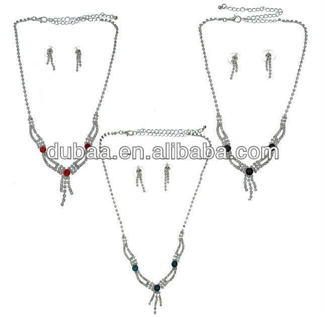 New Designed CZ Drop Pendant Necklace Set Fashion Wedding Jewelry Set Bridal DB01767 from Yiwu Market to Russia,Ukraine,Romania