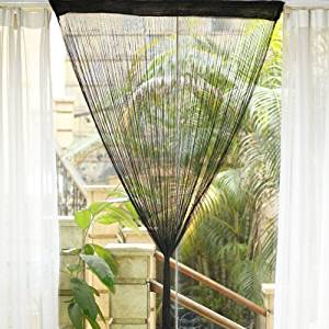Fringe Tassel Window Door Divider Curtain Hanging String, Door Curtain, Window Curtain, Room Divider or a Background for a Shop Window Display (Black)