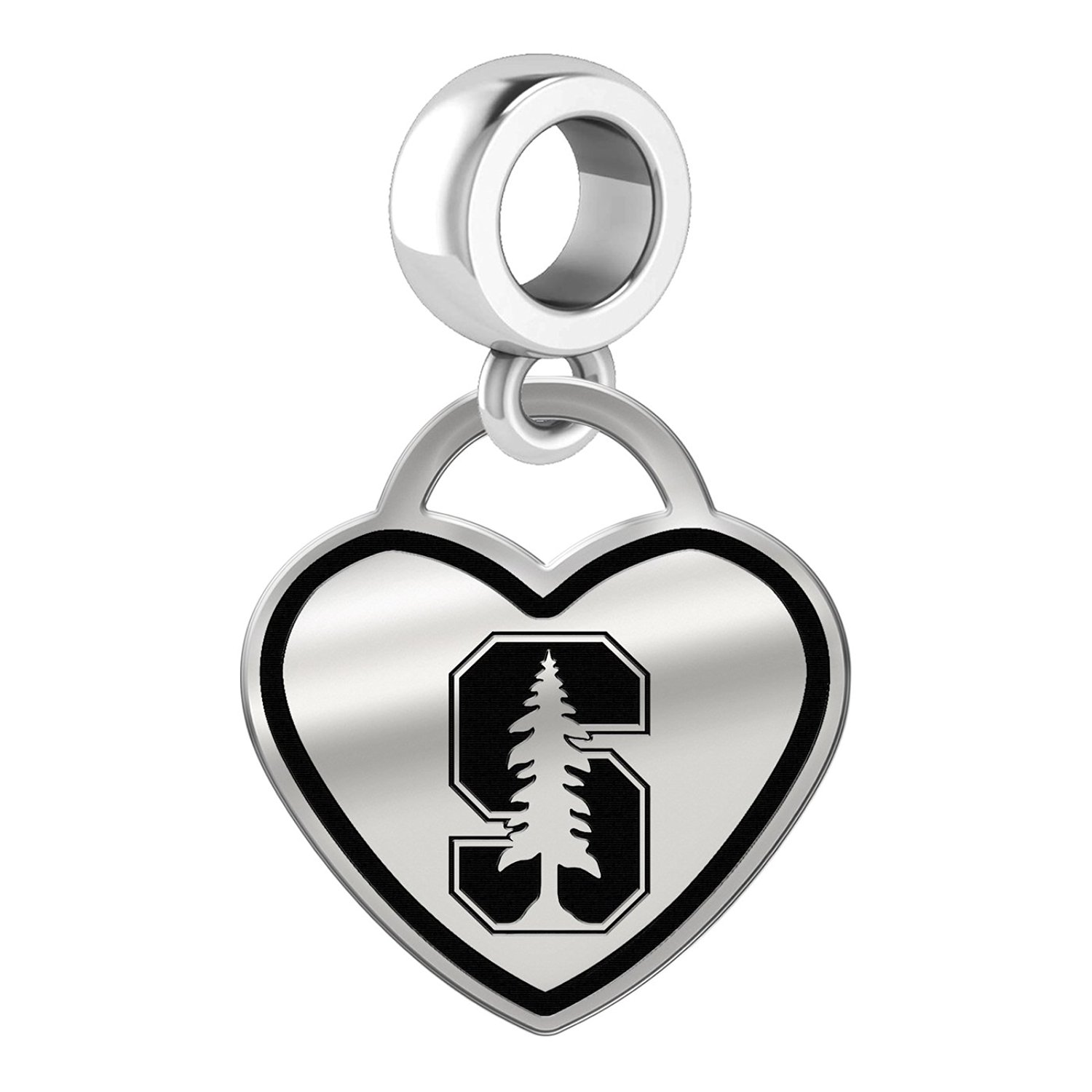 Get Quotations Stanford University Cardinal Border Heart Dangle Charm Fits All Beaded Bracelets