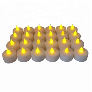 Warm White Flickering Battery Powered Flameless LED Tea Light Candles