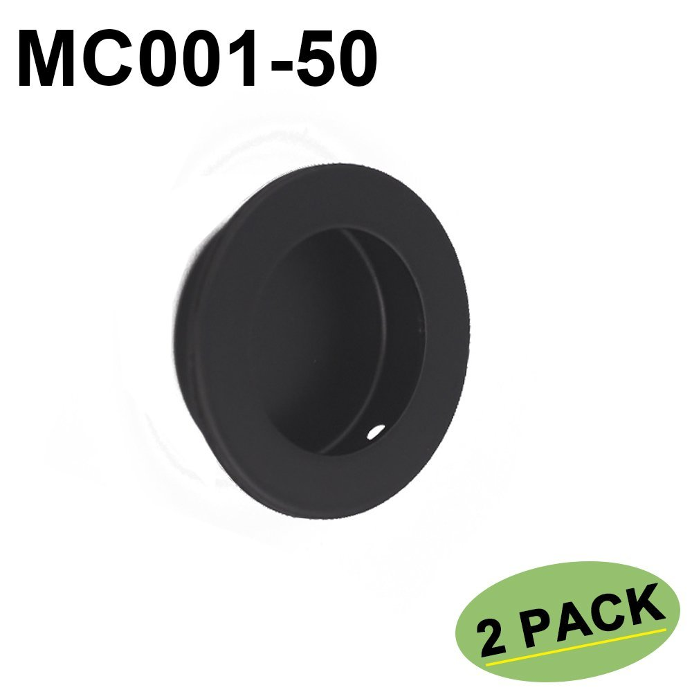 2 Pack Black Circular Flush Door Pull Recessed Sliding Door Handles - Homdiy MC001-50BK Pocket Door Hardware Pulls Round 2in Diameter Cabinet Closets Door Finger Pull Stainless Steel