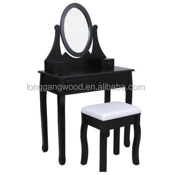 Dressing Table With Mirror Makeup French Wooden Dresser 3 Drawers Antique Vanity Set Wood Make Up Folding Mir White Home