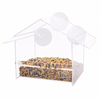 M&E Clear Acrylic Wild Bird Feeder Window Feeder Pigeons Bird House With Suction Cups