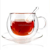 FDA certificated borosilicate heat-resistant glass coffee cup with spoon and saucers.double wall glass coffee tea cup set