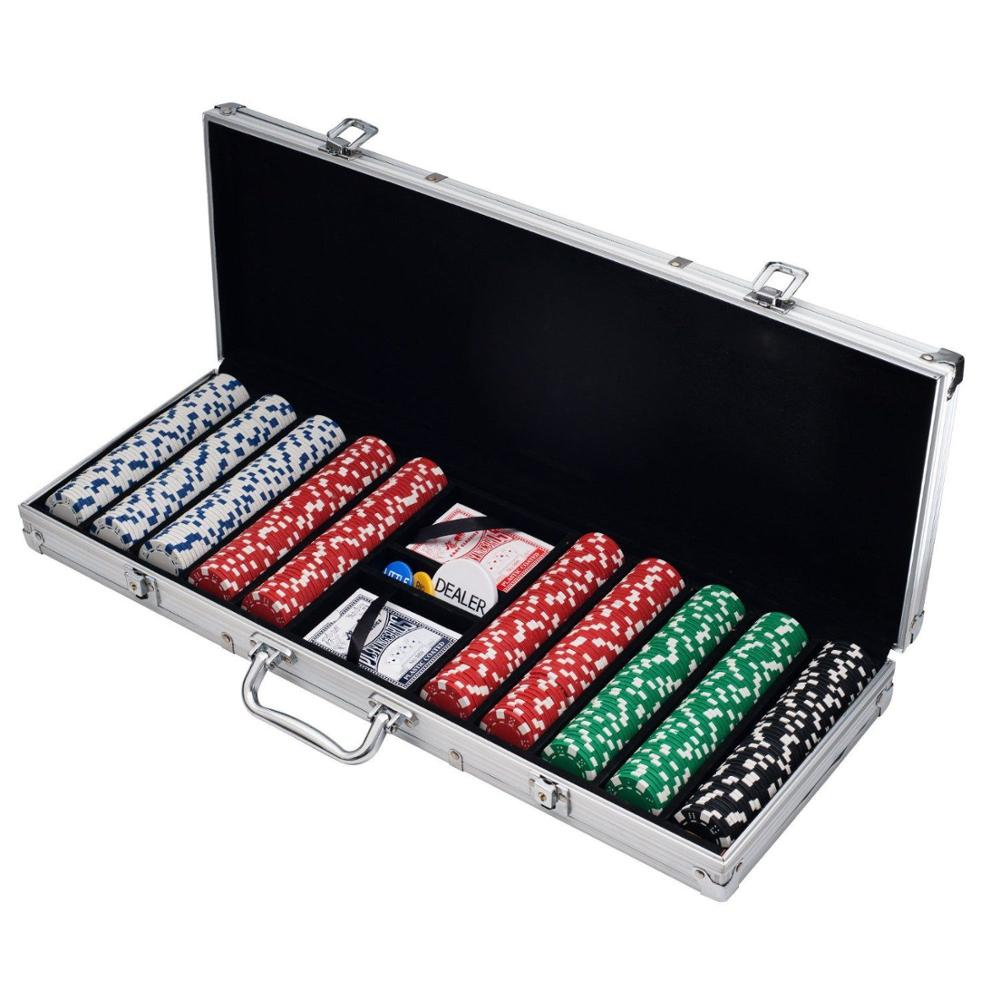 CQ 500 11.5g dobbelstenen poker chip set in aluminium case