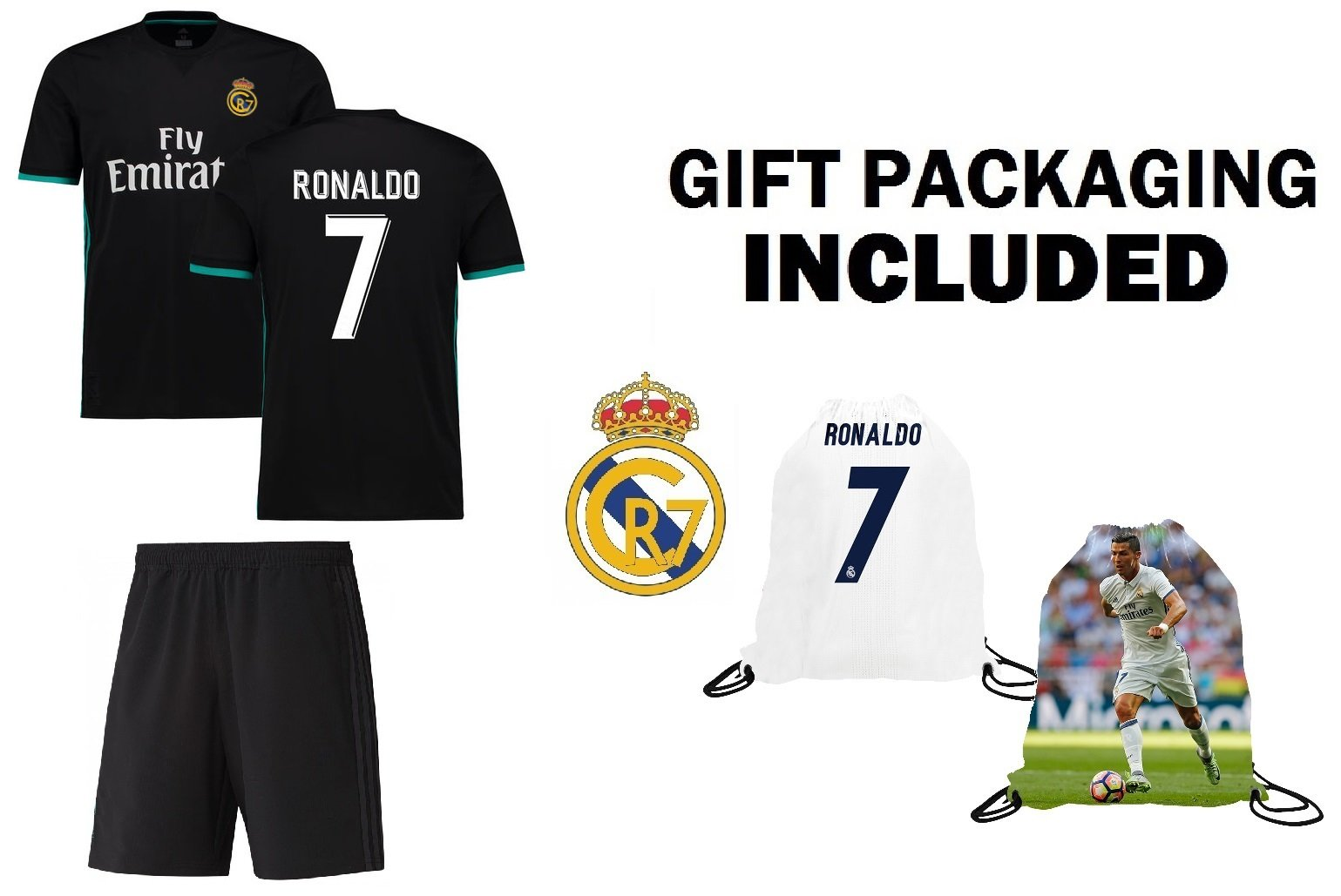 spain real madrid home jersey 2014 15 c9e2d ea7ae  usa get quotations fan  kitbag ronaldo 7 real madrid away short sleeve youth soccer jersey shorts b133e3dfe