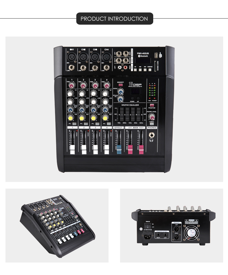 Professionelle professionelle usb power audio mixer audio system sound mixer
