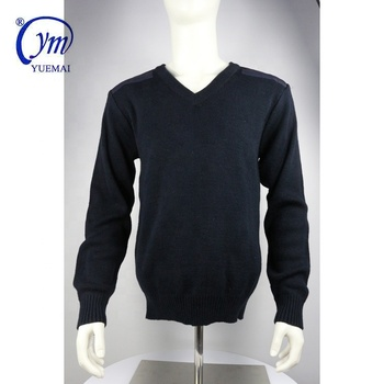 Wholesale winter thick knitted wool acrylic men's military pullover
