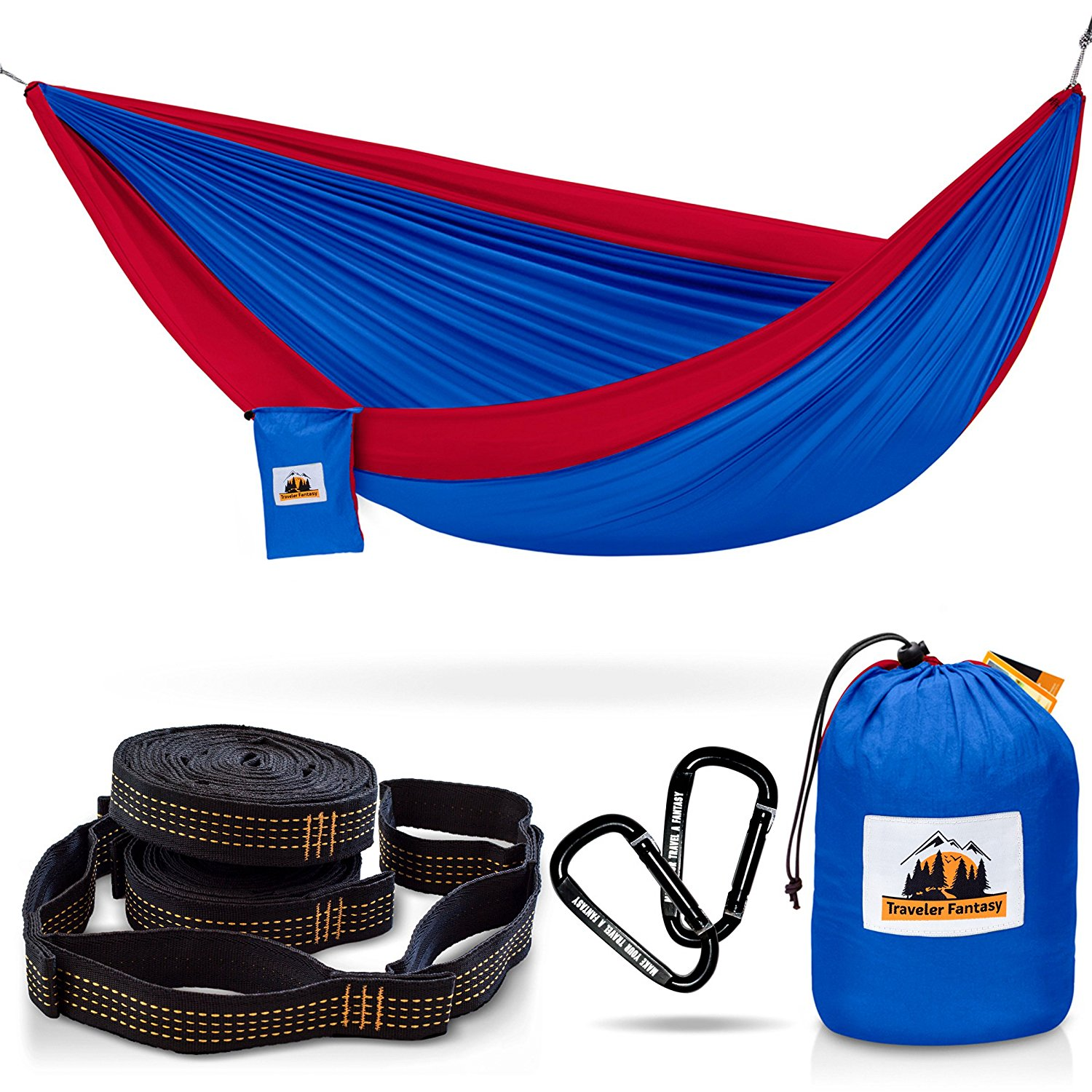Hammock for Camping Complete Bundle, CHRISTMAS GIFTS 60% SALE - Top Rated, Portable – Includes: Double Parachute Hammock, 2 Heavy Duty 10' Tree Straps, Carabiners, Gift - by Traveler Fantasy