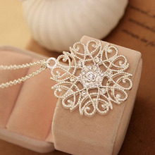 Women Silvery Black Hollow Flower Pendent Necklace Silver Plated Sweater Womon Fashion Jewelry Accessory