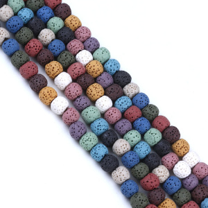 Colorful Natural Lava Stone Beads for essential oil diffuser necklaces