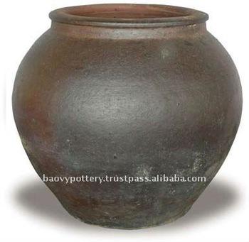 Aaf Large Black Clay Pot Tall Dark Giant Outdoor Pots