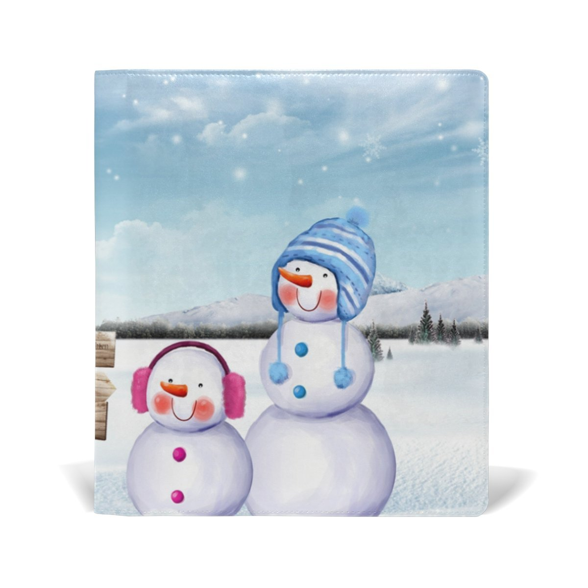 Sunlome Winter Christmas Snowman With Gift Pattern Stretchable PU Leather Book Cover 9 x 11 Inches Fits for School Hardcover Textbooks