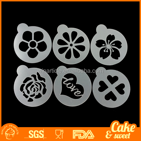 Cappuccino Coffee Stencils Template Strew Flowers Pad