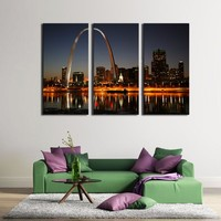 LK3208 3 PanelsCity Lit Up at Night Gateway Arch Mississippi River St. Louis Landscape Oil Painting On Canvas Wall Art Wall Pict