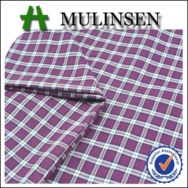 Mulinsen Hot Sale High Quality Plain Woven Combed 100% Cotton Yarn Dyed Plaid Fabric for School Uniform