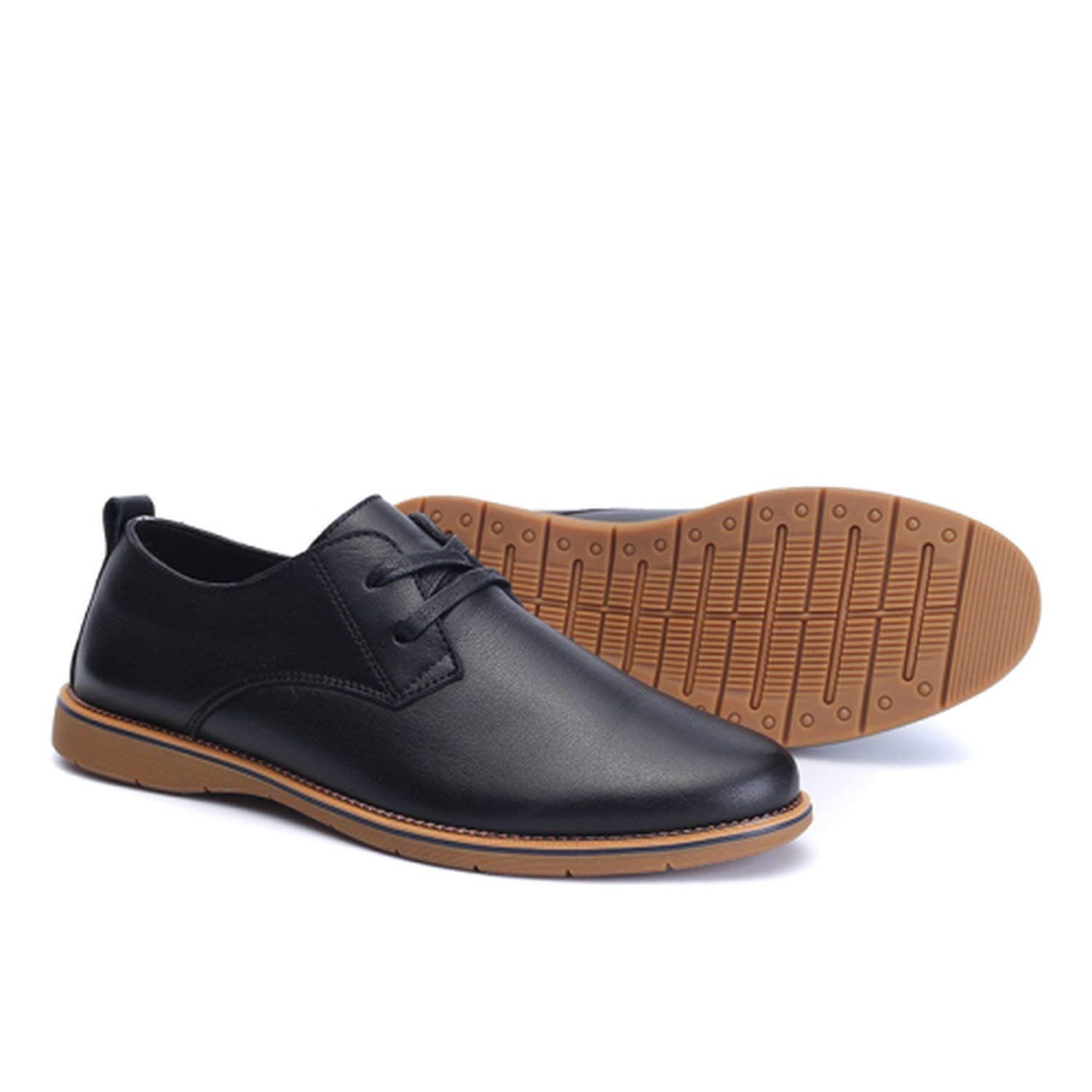 Memoriesed Men Casual Leather Shoes Winter Shoes Size 37-44 Warm Plush Lining Solid Color Man,Black,8