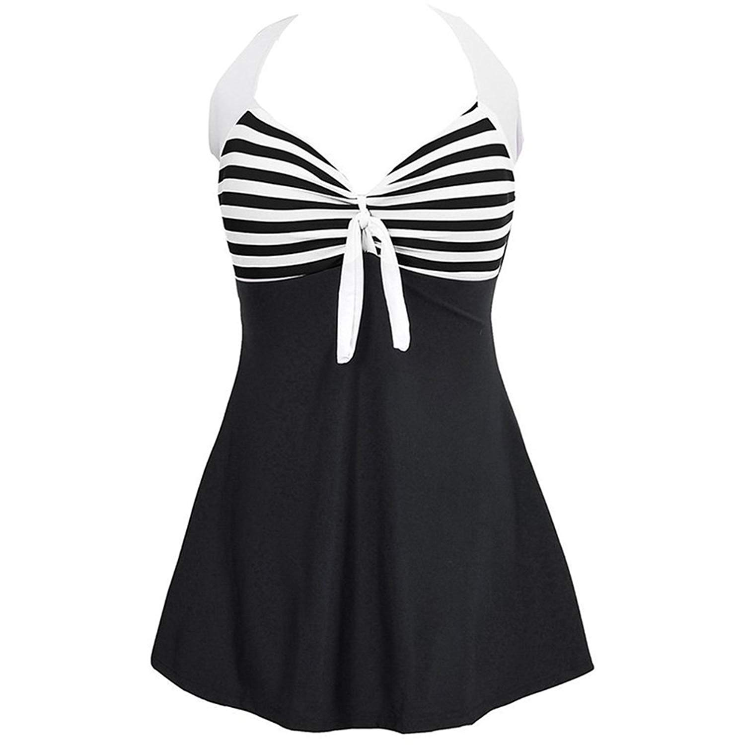 6f0dd93f9d1 Get Quotations · FZUU Swimsuit Womens Vintage Sailor Straps Halter Pin Up Swimsuit  One Piece Cover Up Bathing Suit