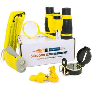 Outdoor Explorer Kit for Kids | Pack 6 with Binoculars, Flashlight, Compass, Magnifying Glass, Whistle, Backpack