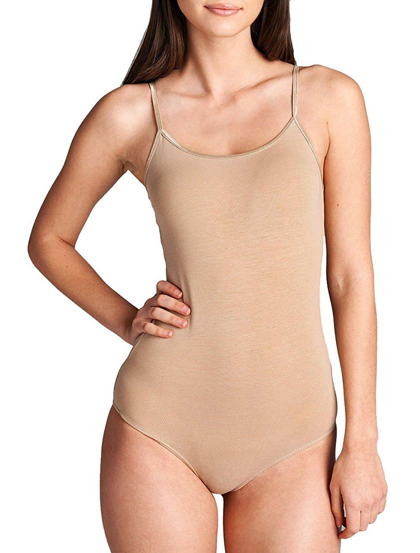 a884db6f79 Get Quotations · Snap Crotch Thin Strap Leotard Bodysuit Camisole Bodysuit  Camisole