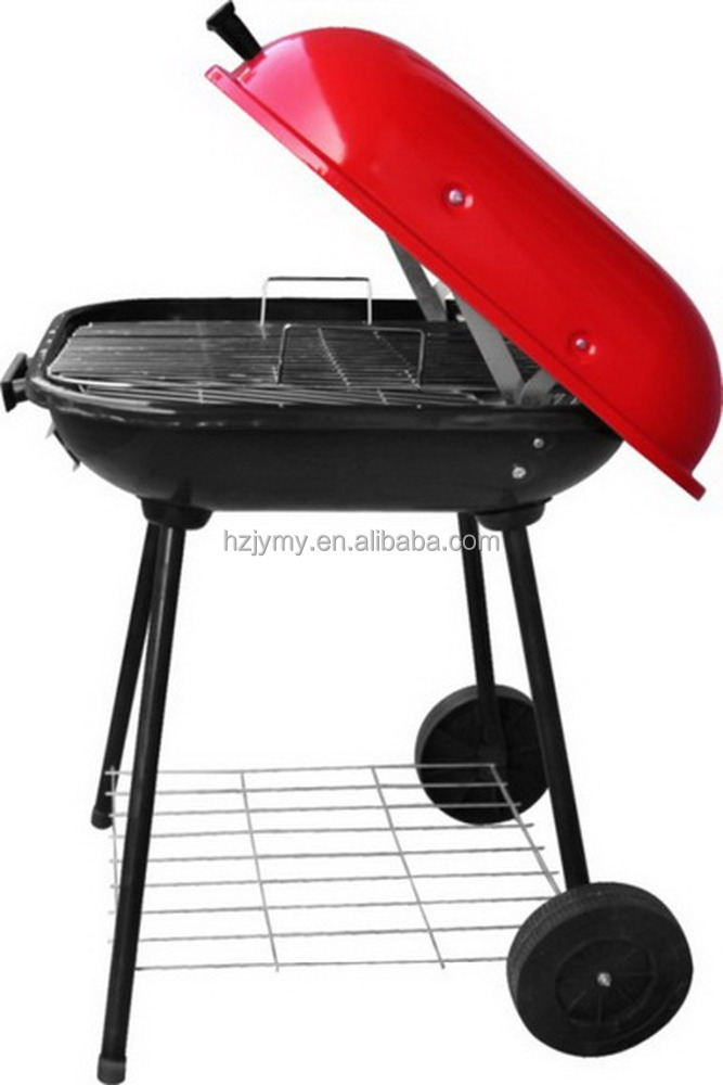 "Hot Selling 18"" Burger Shape BBQ Charcoal Grill with wheels"