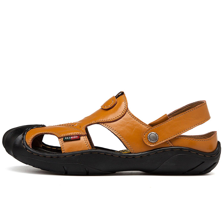 0a1305392de Get Quotations · Processes Mens Sandals Genuine Leather Spring Summer  Walking Sandals Black Brown Outdoor Sandals Slip-on
