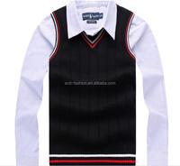 custom black 100% pima cotton men hand knitted sweater vest