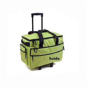green Travel Bag On Wheels for picnic