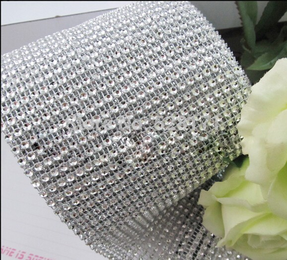 wholesale decorative  gift plastic trimming mesh Poly diamante rhinestone diamond Ribbon for wedding packing