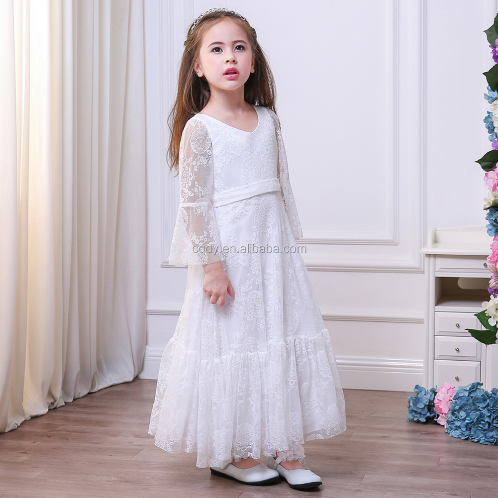 Flower Girl Dress White Lace Long Sleeve Ivory Girls Dresses Cream