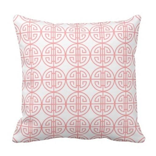 Beautiful Classy Summer Pastel Pink Retro Oriental Pattern Pillow Case (Size: 20