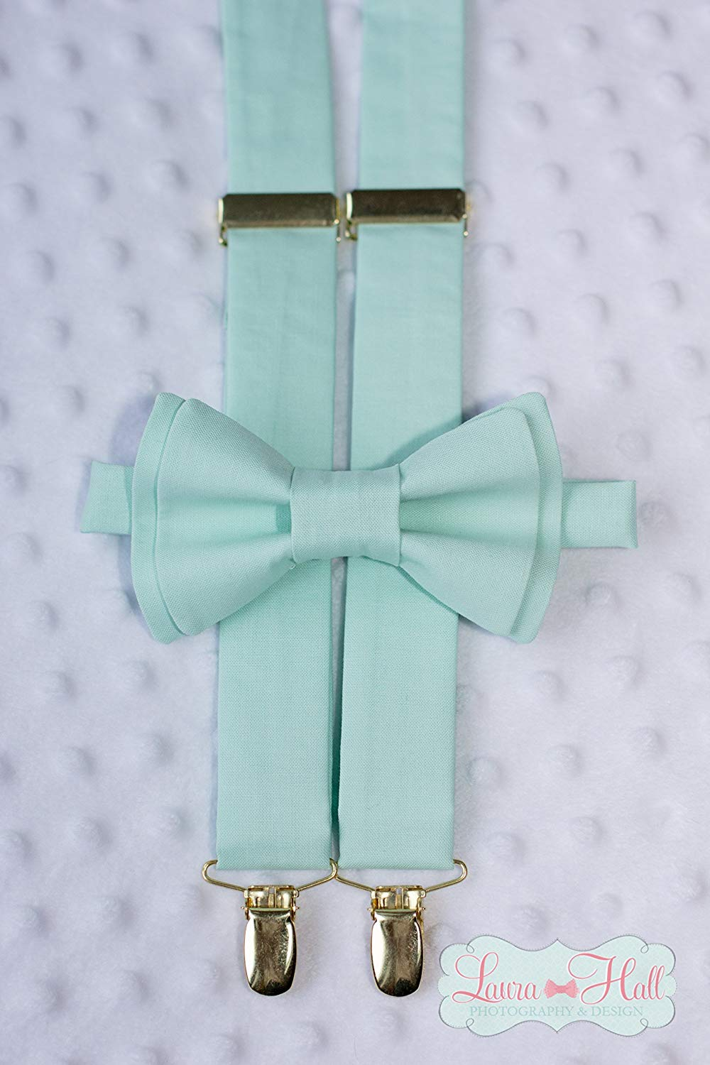 Bow Tie and SUSPENDERS set Mint - MINT bow tie and suspenders, mint solid, Pale Mint suspenders, green bow tie, mint gold bow tie suspenders, mens wedding ties