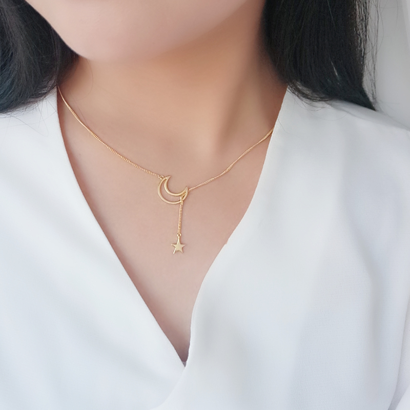 Fashion 18 K Gold Halve Maan En Ster Kettingen 925 Zilveren Gelaagde Ketting Sieraden Bijoux A1372