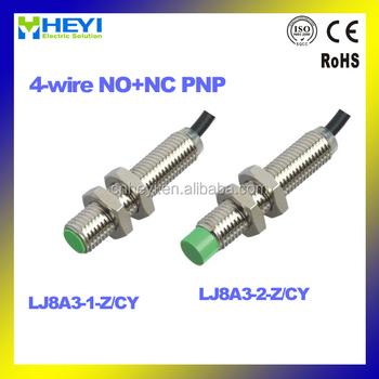 HEYI 4-wire NO+NC PNP M8 inductive proximity sensor LJ8A3-1(2)-Z/CY ...