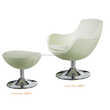 Leisure type of egg chair with swivel aluminum base for office area