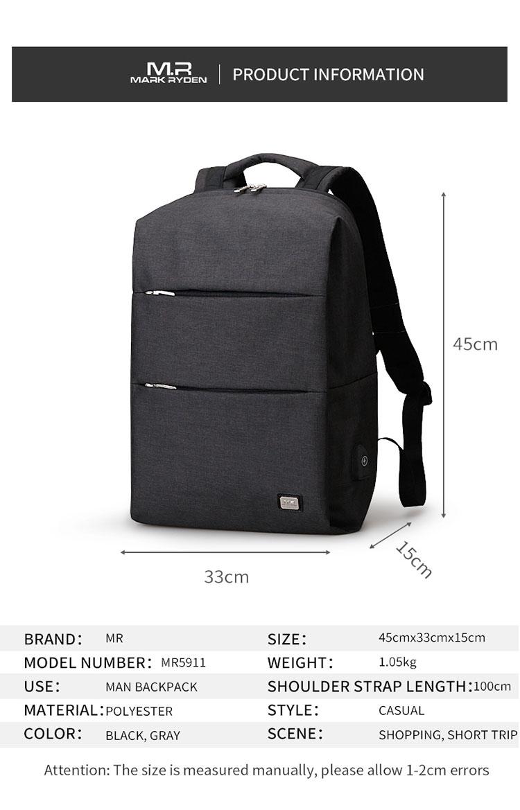 Nový design Mark Ryden Velkoobchod Nový produkt USB Nabíjecí portová taška Batoh na notebook Vodotěsné školní tašky Pánská taška MR5911