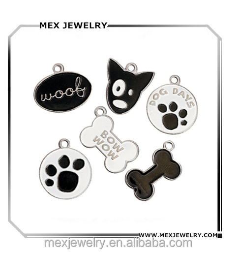 Custom Enamel Dog Bone Dog Paw Print Shape Charms