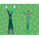 Durable inflatable billboard green suit and top hat clown humorous shape air dancing balloon man