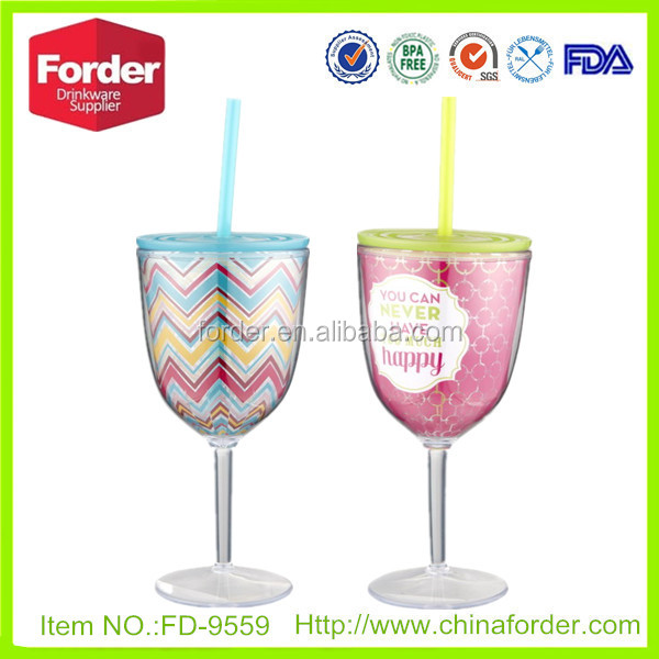 Double Wall Plastic Wine Tumblerwine Glass Tumbler With Straw And