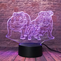 2019 3D Cartoon French Bulldog Cute Shar Pei Dog Family 7 Color Change LED Night Decor Lamp Child Boys Bedroom Kids Xmas Gifts