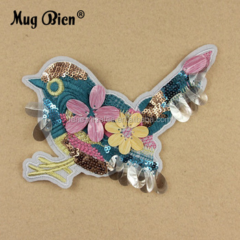 Beautiful Colorful Sequin Birds 3d Embroidery Patch For Blouses
