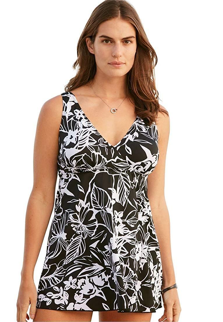 326d3c9cf561f Get Quotations · Swimsuits For All Women's Plus Size Surplice Swimdress  Black White Print,24