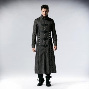 713c4afb6ba4 Y-548 Vintage wash Grey color PUNK RAVE gothic men coat long coat