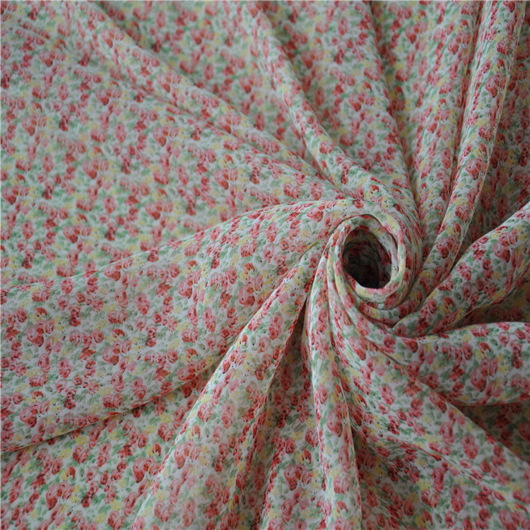 Hot selling elegant anti-shrink sturdy chiffon fabric for dress printed