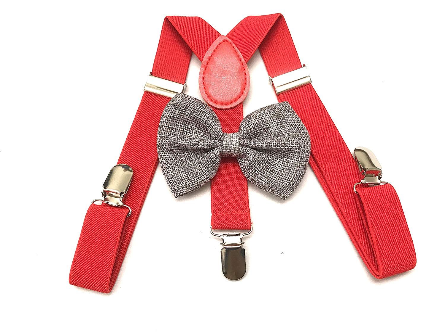 848a70d1e68 Get Quotations · Child Kids Red Suspenders Burlap Bow tie Set - Adjustable  Suspender for Boys and Girls