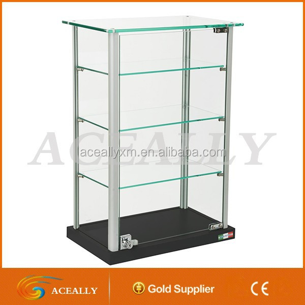 Small Glass Display Case with Locking Hinged Door display rack