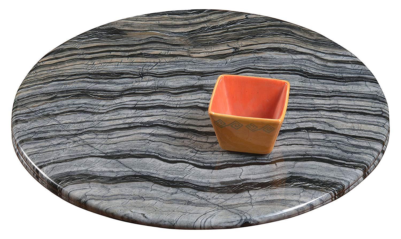 Milan Bryanna Lazy Susan, Gray Wood Grain Marble