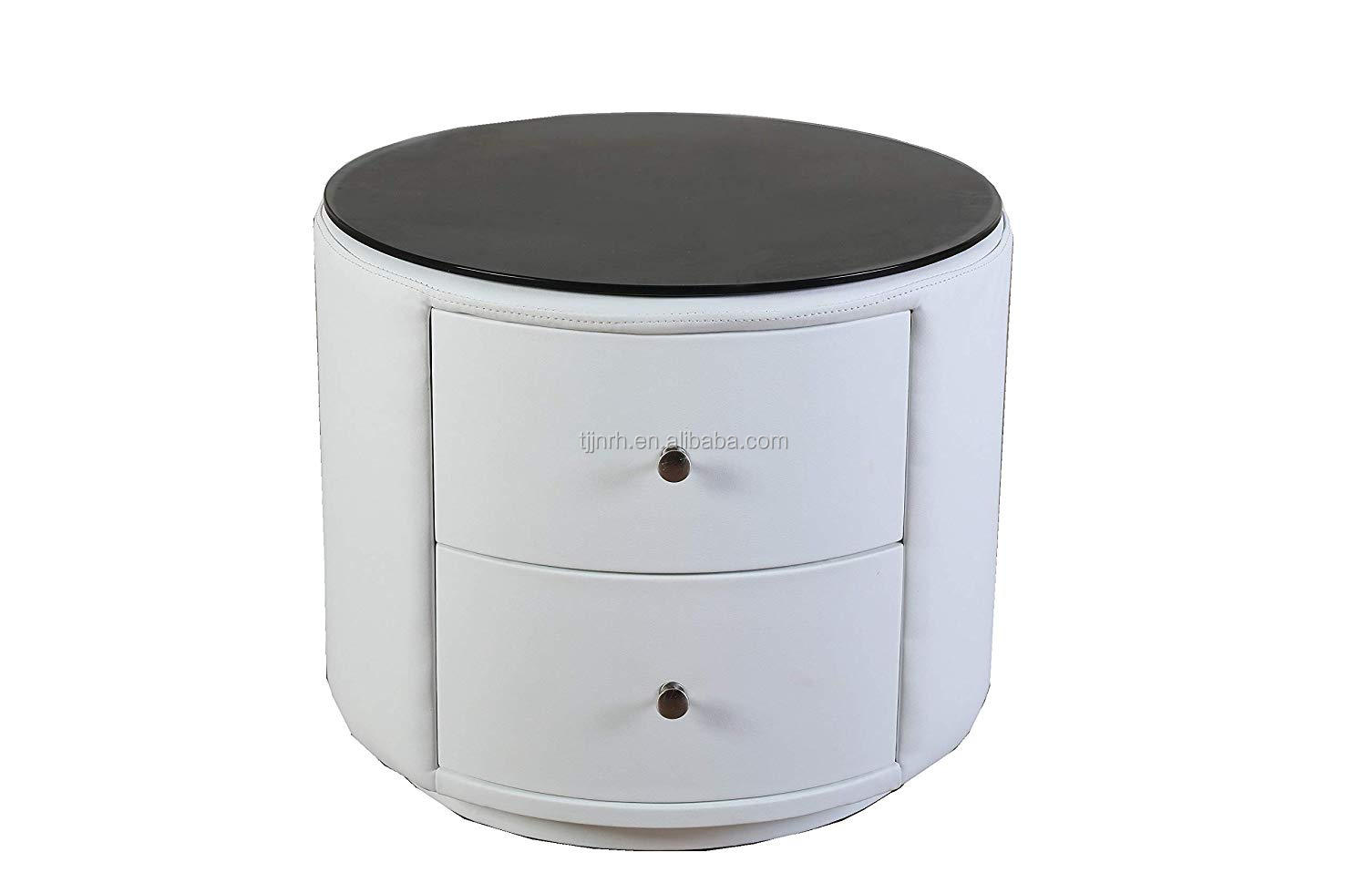 Simple White Modern Two Draws Round Nightstand Bedside Table Buy Two Draws Round Nightstand Bedside Table Product On Alibaba Com