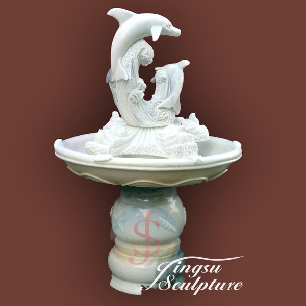 Beautiful outdoor dolphin stone fountains